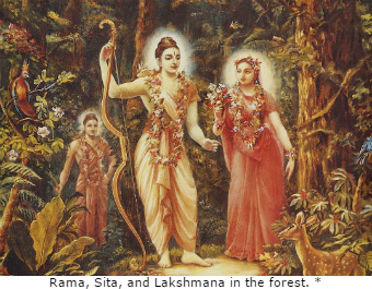 Rama Sita and Lakshmana in the forest.